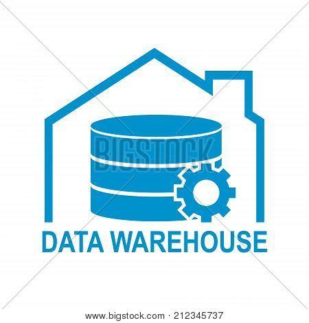 Data warehouse icon logo design. Vector illustration technology solution tend concept design.