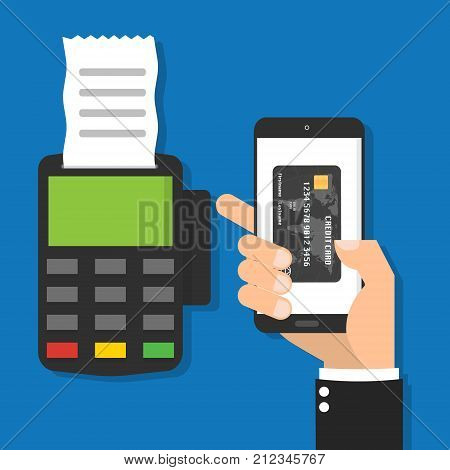Businessman hand holding smartphone mobile with virtual credit card on the screen for processing of mobile payments and POS terminal credit card reader machine with bill.