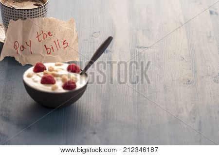Message on paper and cup of coffee - Piece of paper with the message