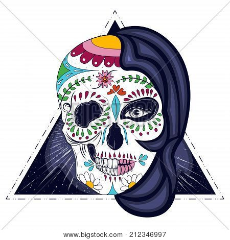 Abstract woman with half face skull hand drawn vector illustration isolated on white background. Mystic and scary female portrait with floral and geometric ornaments, day of the dead, dia de muertos