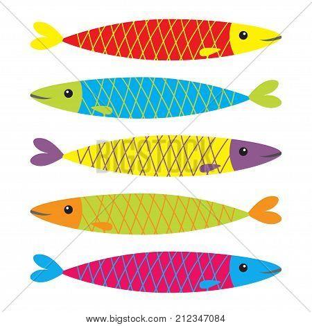 Sardine colorful fish icon set. Iwashi. Sardina pilchardus. Cute cartoon character. Anchovy pilchard. Water animal. Marine life. Flat design. White background. Isolated. Vector illustration