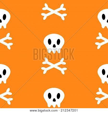 Skull with bone crosswise icon. White crossbones. Skeleton body part. Seamless Pattern. Happy Halloween sign symbol. Cute cartoon character. Pirate flag element. Orange background. Flat design. Vector