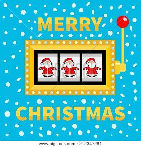 Merry Christmas. Santa Claus. Slot machine. Golden Glowing lamp light. Jackpot. Red handle lever. Big win Online casino gambling club sign symbol. Flat design Blue snow background Vector illustration