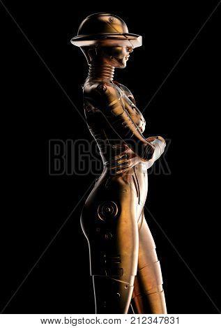 3D illustration. Stylish cyborg the woman. Futuristic fashion android. poster