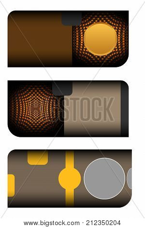 Set of blank gift voucher with case on the dark brown background with abstract patten and gold stripes.