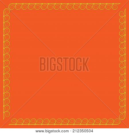 Frame yellow. Decoration concept. Border from waves. Colorful framework isolated on orange background. Modern art scoreboard. Decoration banner rim. Stock vector illustration