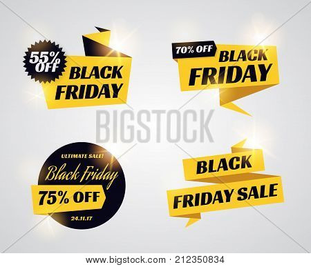 Black friday sale banners. Set of discount ribbons and labels promo text. Black and yellow vector templates.