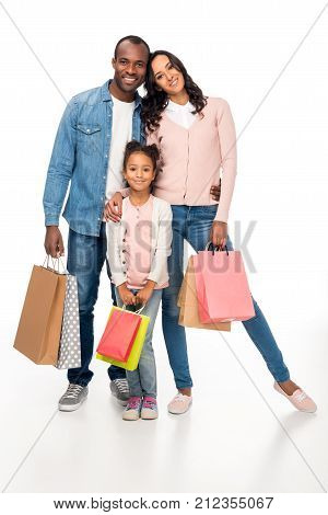 African American Family With Shopping Bags