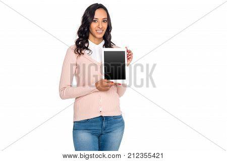 Mulatto Woman With Digital Tablet