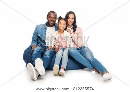 African American Family On Bean Bag Chair