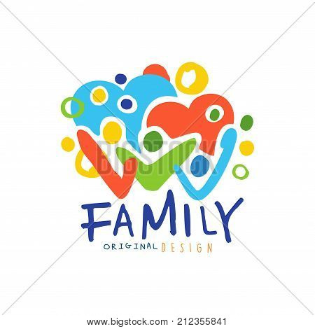 Colorful happy family logo design template. Label for family medicine practice, team, group, friendship. Family care concept with abstract people and hearts. Kids drawing style. Flat vector emblem.