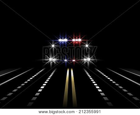 Abstract light effects. Police car at night with lights in front. Road, highway, street. Vector illustration