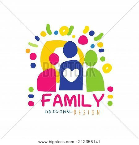 Abstract happy family logo with simple shapes of people. Label for family greeting card, medicine service, market or shop. Family care concept. Colorful kids doodle. Flat vector cartoon illustration.