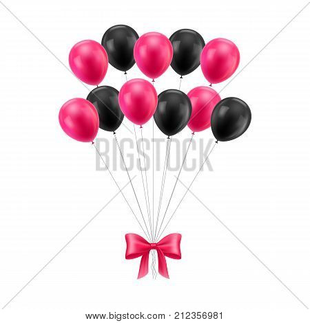 Bunch black and red balls. Tied together set of inflatable helium flying gasbags with a pink butterfly. Realistic congratulations on the holiday or event. Vector isolated on white background