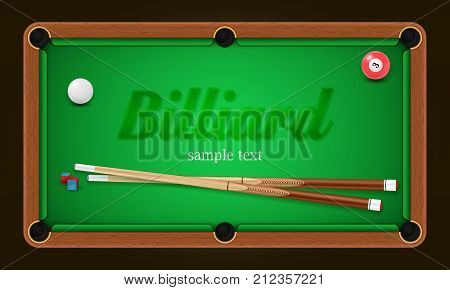 Billiard poster. Pool table background illustration with billiard balls and billiard chalk and cue. EPS 10