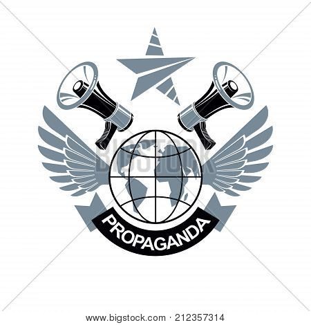 Advertising leaflet composed with loudspeakers and Earth globe vector illustration. Disinformation idea misleading information concept brainwashing theme