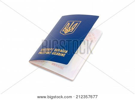 Ukrainian passport with slightly open front cover on a white background