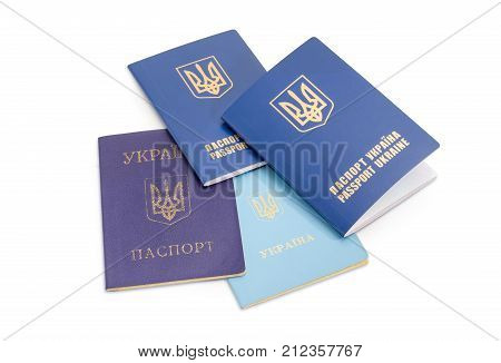Ukrainian internal passport travel document of the child and international passports on a white background