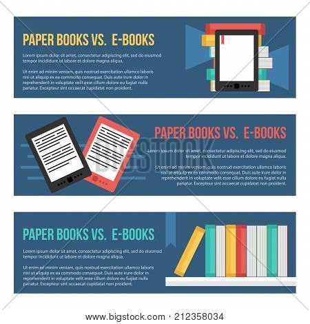 Set, collection of flat design vector headers, banners templates with e-books and paper books.