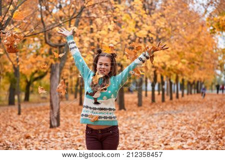 A little girl with dark hair and a blue sweater walks in the park and tosses the autumn leaves up. Outdoors.