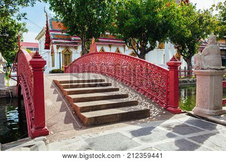 Cup Bridge at Wat Benchamabophit also known as Marble Temple in Bangkok Thailand.