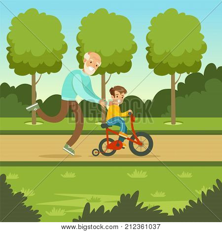 Happy grandfather teaching kid boy to ride the bicycle in park. Man spending time with child. Granddad and grandson cartoon characters. Loving family. Green nature landscape background. Flat vector.