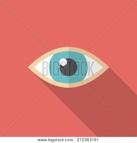 Eye icon with long shadow. Flat design style. Eye simple silhouette. Modern minimalist icon in stylish colors. Web site page and mobile app design vector element.
