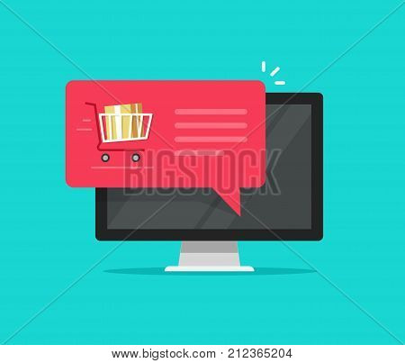 Desktop computer with shopping cart full, flat icon design speech bubble vector on pc illustration, online ordering notification concept, ecommerce, internet order delivery service modern isolated