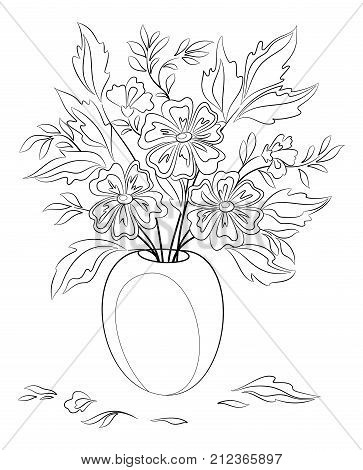 Bouquet of Flowers and Leaves in a Black Contours Isolated on White Background. Vector