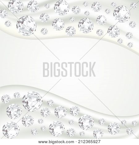 White smooth satin silk fabric waves with sparkling precious gems. Soaring white diamonds. Modern background