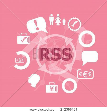 Text Rss. Web Design Concept . Icons Set. Flat Pictogram. Sign And Symbols For Business, Finance, Sh