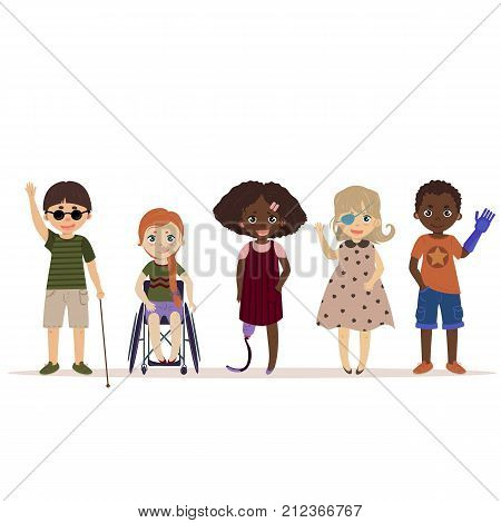 Special needs children. Happy children with disabilities. Blind boy, girl in a wheelchair, kids with leg and arm prosthesis, one eyed girl. Differing abilities.