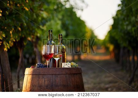 Two Glasses Of White And Red Wine With Bottles At Sunset.