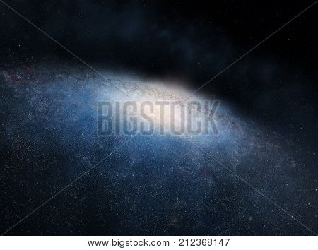 Illustration of enormous spiral galaxy with myriads of stars