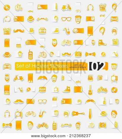 hipster vector sticker icons with shadow. Paper cut