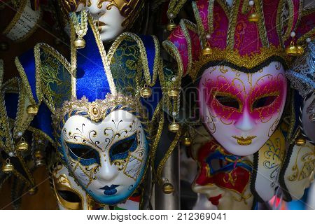 VENICE, ITALY - SEPTEMBER 28, 2017: Two Venetian masks closeup