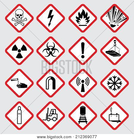 Warning hazard vector pictograms. Illustration of danger caution symbol, toxic and poison