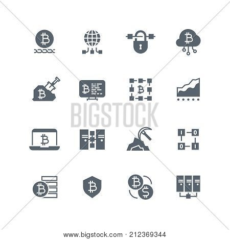 Blockchain and cryptocurrency mining vector icons. Decentralized transaction system symbols. Cryptocurrency money, blockchain bitcoin system, transaction and currency illustration