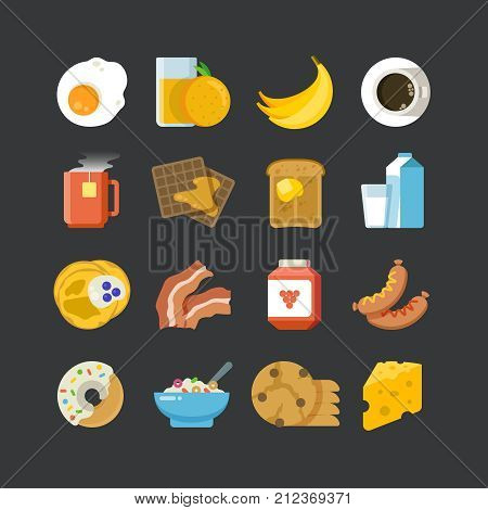 Breakfast healthy food and drinks flat vector icons. Breakfast food fruit and cheese, lunch juice, or cup of tea illustration