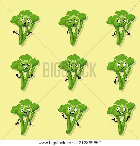 Broccoli different emotions. Vector cartoon style character set. Broccoli cartoon character, funny emotion vegetable illustration