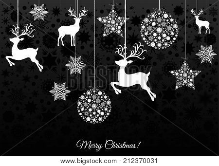 Christmas Card With Balls, Reindeer And  Snowflakes.