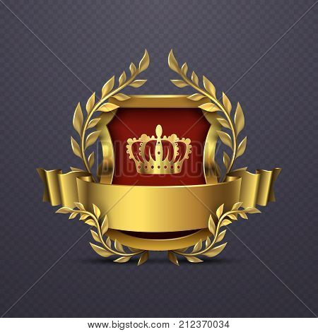Royal heraldic victorian style emblem. Victorian heraldic emblem with crown and shield. Vector illustration