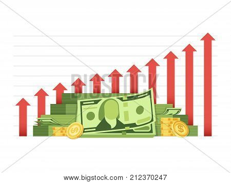 Growing business chart with pile of money cash financial vector concept. Illustration of cash money chart, business, growth finance