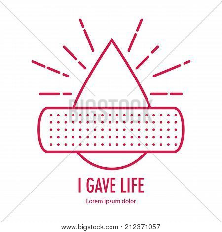 Donate blood design on white background. Patch on Drop blood donation concept. with letter i gave blood. Vector illustration in linear style.
