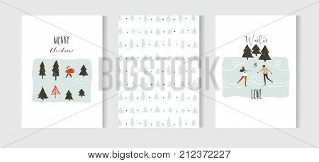 Hand drawn vector abstract fun Merry Christmas time cartoon cards collection set with cute illustrations, sledding people, Santa Claus, Christmas tree and modern calligraphy isolated on white background.