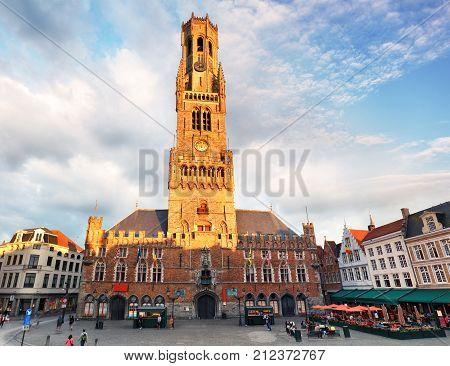 Belfry - Grote Markt square in Bruges Belgium.