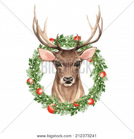 Noble deer. Christmas wreath. Watercolor illustration