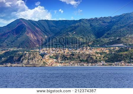 Buildings on the Coast of Italy from Strait of Messina