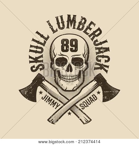 Vintage monochrome Lumberjack logo tattoo with skull and crossed axes. Worn texture on separate layer and can be easily disabled.