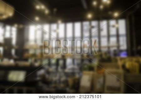 Blurred background of coffee shop stock photo